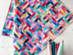 Split Rail Rainbow Quilt Kit featuring Boundless Blenders Ombre fabric | Craftsy