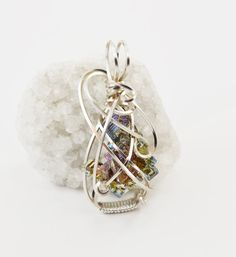 Rainbow bismuth crystal pendant necklace  by FeathersnThingz