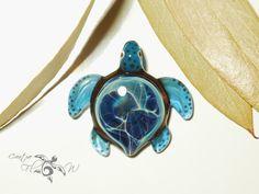 Ocean Energized Turtle Pendant - Glass Pendant - Glass Jewelry - Glass Art - Turtle - Blown Glass - Artist Signed - Details of Pure Silver