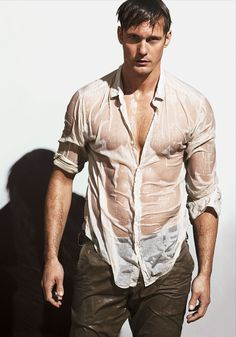 Summer Heat - Alexander Skarsgård in a Theory shirt and Save Khaki United trousers.