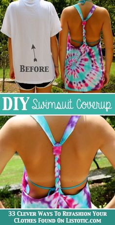 33 Clever Ways To Refashion Clothes (With Tutorials) is part of Diy swimsuit - Clever ways to refashion clothes Some don't even require a needle or thread; just a few creative folds, knots, and cuts Look Fashion, Diy Fashion, Fashion Clothes, Tie Dye Crafts, Diy Crafts, Diy Kleidung, Diy Vetement, How To Tie Dye, Diy Shirt