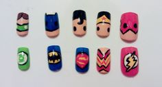 Justice League Nail Art by MaryMars on Etsy, $18.00