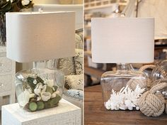 Fillable lamp with flowers & shells