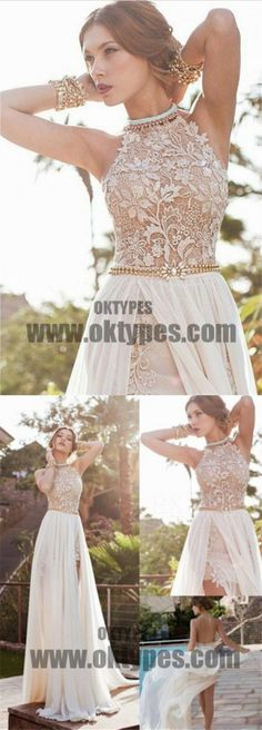Long Floor Length Prom Dresses, Lace Prom Dresses With Little Beading, Backless Prom Dresses, Appliques Prom Dresses, TYP0240 #promdresses