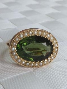 Stunning Victorian 6 Carat Tourmaline Seed Pearl Gold Cluster Ring   eBay