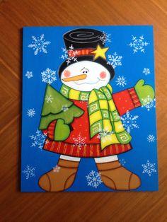 Muñeco de nieve con pinito. Estaca para jardín.