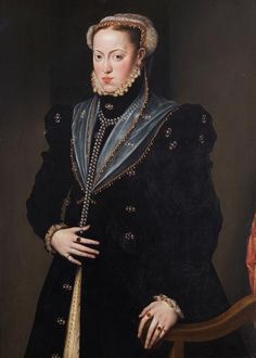 Maria of Austria (or Spain), 1557.Daughter of Charles V, H.R.E. and Isabella of Portugal, themselves first cousins, she married her first cousin Archduke Maximiian, who would become Holy Roman Emperor.  Sister of Philip II of Spain.  Co-regent of Spain.  Mother of Anna, queen of Spain (wife  of her uncle Philip) and Elisabeth, queen of France.