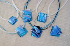 Fused Glass Jewelry Projects | Fused glass pendants - Turquoise&Stripes series on Behance