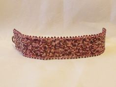 Handwoven Wine Colors Peyote Stitch Cuff by Misteltoeholler