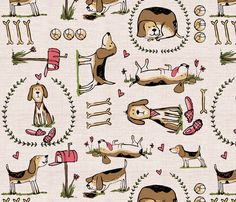 must love beagles fabric by laura_the_drawer on Spoonflower - custom fabric