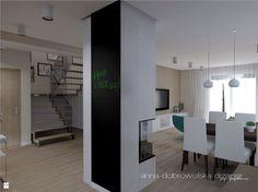 Projekt otwartej przestrzeni wnętrza domu szeregowego. Życzeniem Inwestora było zaprojektowanie wnętrza w stylu nowoczesnym, z jednoczesnym dopasowaniem do kolorystyki i modelu ist ...