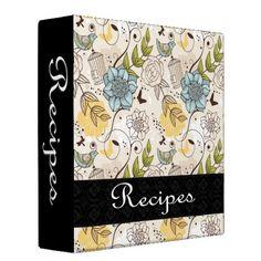 Recipe Binder Design - 3 #binder #specialtybinder #recipe #recipebook #recipebinder #retro #rose #bird #birdcage