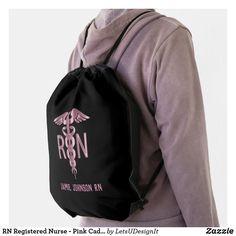RN Registered Nurse - Pink Caduceus Drawstring Bag Black Rope, Back To Black, Solid Black, Sling Backpack, Drawstring Backpack, Jamie Johnson, Nurse Gifts, Black Trim, Purple