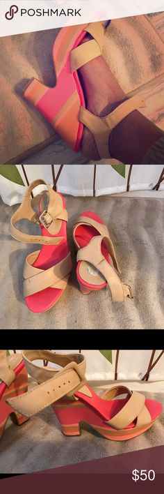 BCBGENERATION shoes Beautiful nude wedges with color blocked heels ! Says 38 on the back but I am a 9-9.5 and it fits me great.Lightly used and there are some scruff marks as seen in pics but heels are intact and has got plenty of wear left ! No trading pls. BCBGeneration Shoes Wedges