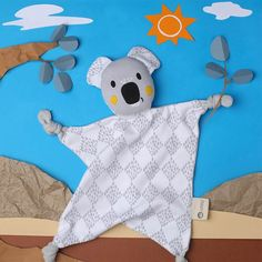 Banjo is a cuddly koala baby comforter who loves to share a KippinTale or two. He has a soft white base with a grey wild harlequin print & bright orange cheeks. Le Dodo, Kids Sleeping Bags, Handmade Soft Toys, Baby Comforter, Banjo, Organic Baby, Toys For Girls, Baby Accessories, Baby Sleep