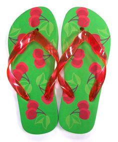Another great find on #zulily! Jump'N Splash Green & Red Cherry Flip-Flop by Jump'N Splash #zulilyfinds