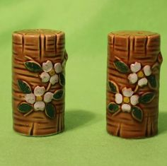 Bamboo stalk and flower salt and pepper by EnjoyYourVintagePt, $20.00