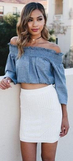 #summer #fashion #outfits | Off The Shoulder Chambray Crop + White Skirt