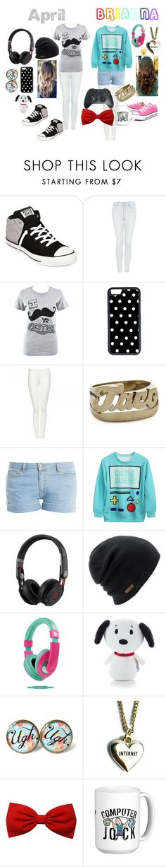 """""""April & Brianna"""" by lele2004 ❤ liked on Polyvore featuring Converse, Topshop, Goodie Two Sleeves, CellPowerCases, Snash Jewelry, Paul & Joe, Beats by Dr. Dre, Coal, Urban Beatz and Lazy Oaf"""