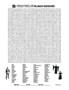 Free downloadable Halloween wordsearch for middle or high school students.