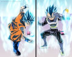 Goku God Blue vs Vegeta God Blue by The-danstyle-art.deviantart.com on @DeviantArt