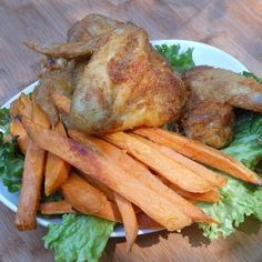 """Oven-fried chicken wings & oven-baked sweet potato """"fries""""..."""