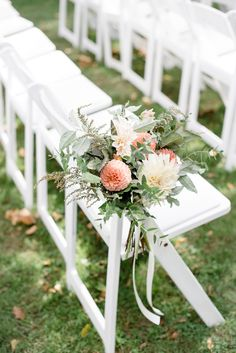Autumn aisle flowers with dahlias and textural greenery.  Grown and designed by Love 'n Fresh Flowers.  Photo by Maria Mack Photography.