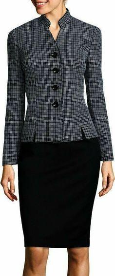 Lesuit Le Suit Long-Sleeve Plaid Notch-Collar Jacket and Skirt Suit Set - Woman Jackets and Blazers Office Dresses For Women, Office Outfits Women, Dresses For Work, Latest Clothes For Men, Clothes For Women, Casual Wear Women, Womens Dress Suits, Skirt Suit Set, Work Attire