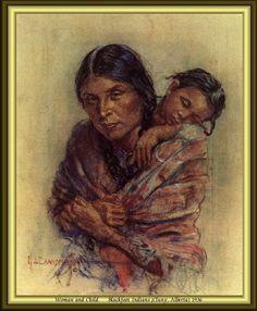 Woman And Child - Blackfoot Indians (Cluny, Alberta) 1936 by Nicholas de Grandmaison. kK