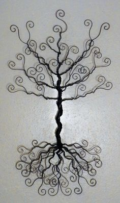 Wire jewelry tree wall hanging.
