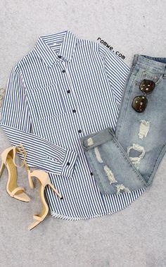 Blue Lapel Vertical Striped Blouse