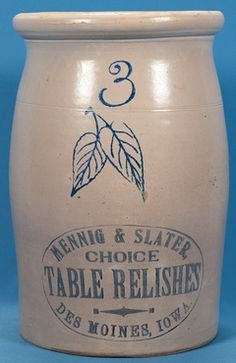 IMAGE: Red Wing Pottery stoneware churn for Mennig and Slater Choice Table Relishes of Des Moines, Iowa Antique Crocks, Old Crocks, Antique Stoneware, Stoneware Crocks, Antique Pottery, Stoneware Clay, Pottery Art, Red Wing Crock, Red Wing Stoneware