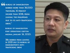 Bureau of Immigration (BI) barred more than travelers percent higher than from leaving the Philippines due to its anti-trafficking drive Zamboanga City, President Of The Philippines, Law Enforcement Agencies, Department Of Justice, Percents, Human Trafficking, Press Release, Acting, Manila
