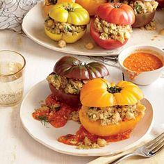 Quinoa-Stuffed Heirloom Tomatoes with Romesco | CookingLight.com