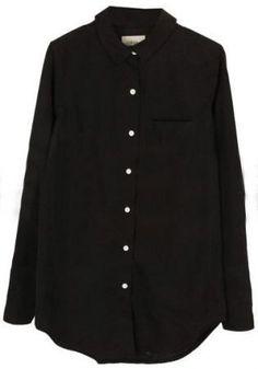 Black Long Sleeve Lapel Single-breasted Blouse