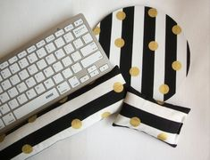gold Mouse pad set – mouse wrist rest – keyboard rest black white stripes metallic gold dots – mouse pad set coworker gift Desk Accessories – Chic Home Office Design Gold Dots, Metallic Gold, Student Gifts, School Gifts, Office Accessories, Gifts For Coworkers, Key Fobs, Black White Stripes, Fabric Patterns