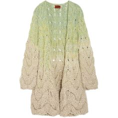 Missoni Bois alpaca-blend cable-knit cardigan ($1,078) ❤ liked on Polyvore featuring tops, cardigans, sweaters, outerwear, jackets, women, cable knit cardigan, open front cardigan, missoni top and missoni cardigan