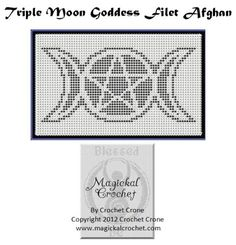 triple moon filet crochet afghan