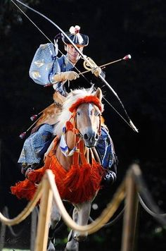 "thekimonogallery: "" Yabusame (流鏑馬) is a type of mounted archery in traditional Japanese archery. An archer on a running horse shoots three special ""turnip-headed"" arrows successively at three wooden targets. Traditional Archery, Traditional Japanese, Mounted Archery, Geisha, Japanese Landscape, Samurai Warrior, Kendo, Foto Art, Japan Art"