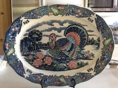 Mostly blue turkey platter.  No markings.
