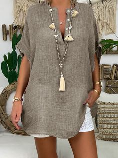 Pure Color V-neck Button Short Sleeve Tunic Casual Blouse - Banggood Mobile
