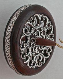 """""""Sterling Silver Art Nouveau Filigree"""" 2 3/4"""" Walnut Whorl Sterling Silver Ring Silver Plated Inset 1.75 oz"""
