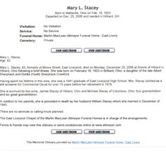 Mary Stacey Obit - Photos and Stories — FamilySearch.org. Mike's Mother