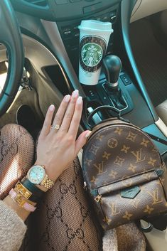 opi funny bunny, starbucks cup, lv palm springs mini, gucci tights, hermes bracelet, michele watch