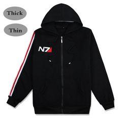 Game Mass Effect 3 N7 Soldier Shepard Cosplay Fleece Thin/Thick Sweatshirts Hoodies Men/Women Black Coat Cool Zipper Jackets #Affiliate