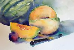 The color of the fruit was the first inspiration and then I just want to let the watercolors play and sing and show off. That's more important to me than an exact rendering.