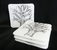 Fused Glass Coasters! Pen and Ink Coasters by Stacy Owen. www.coppermstudio.com