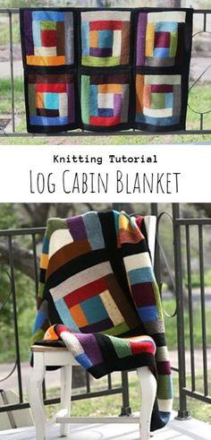 Knit Log Cabin Blanket Baby Knitting Patterns, Loom Knitting, Knitting Stitches, Free Knitting, Knitting Scarves, Afghan Patterns, Square Patterns, Knitted Afghans, Knitted Blankets