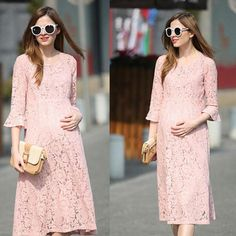 68deb311acd New Spring Summer New Pregnant Woman Maternity Dresses Lace Beauty Pink Pregnancy  Clothes Plus Size Girls Dress. BE FASHION