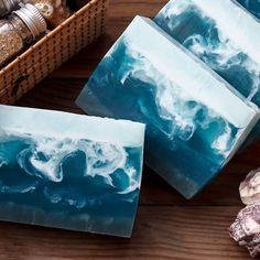 "Handmade soap ""Heart of the Ocean"" - sea .-- Handmade soap ""Heart of the Ocean"" – sea wave, sea soap, Savon Soap, Beauty Soap, Homemade Soap Recipes, Glycerin Soap, Soap Packaging, Cold Process Soap, Soap Molds, Home Made Soap, Handmade Soaps"